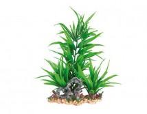 Пластиковое растение Trixie на каменной подложке 28см зеленое