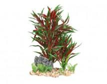 Пластиковое растение Trixie на каменной подложке 28см красное