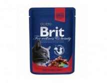 Консервы Brit Premium Cat pouch 100 г тушеная говядина и горошек