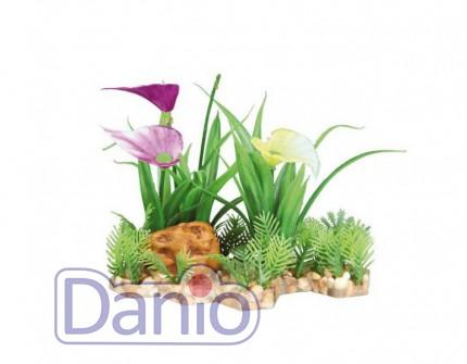 Trixie Пластиковое растение Trixie на каменной подложке 13см - Картинка 1