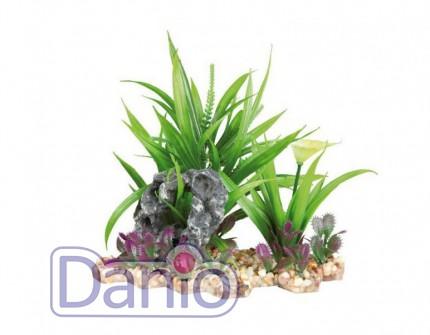 Trixie Пластиковое растение Trixie на каменной подложке 18см - Картинка 1