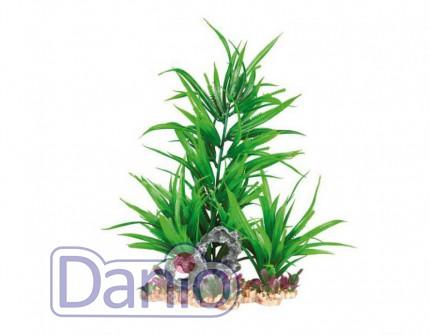 Trixie Пластиковое растение Trixie на каменной подложке 28см зеленое - Картинка 1