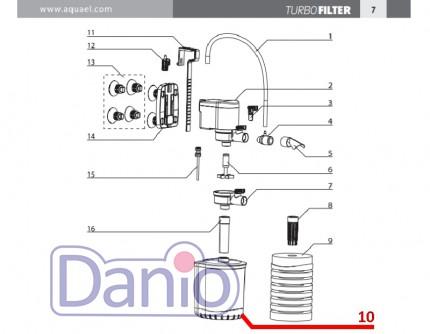 Схема запчастей к внутренним фильтрам Aquael Turbo filter