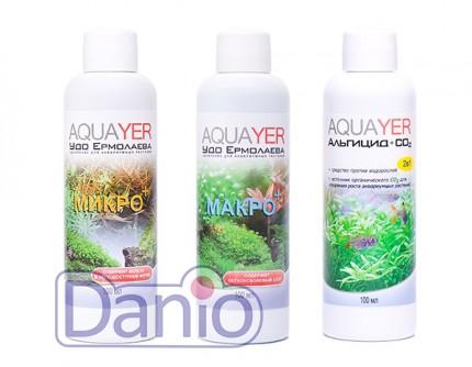Набор удобрений Aquayer Микро+Макро+Альгицид+СО2 100 мл