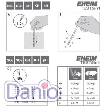Eheim (Германия) Экспресс-тест Eheim 5 в 1 в упаковке 50 тест полосок для пресноводного аквариума - Картинка 3