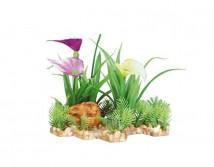 Пластиковое растение Trixie на каменной подложке 13см