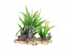 Пластиковое растение Trixie на каменной подложке 18см