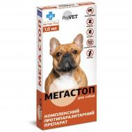 Капли от блох, клещей, нематод и дирофилярий ТМ Природа ProVET МегаСтоп 4 пипеток по 1 мл на холку для собак от 4 до 10 кг