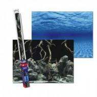 Двухсторонний фон Aqua Nova синее море и Камни с корягами 150х60см для аквариума