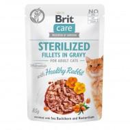 Влажный корм для стерилизованных котов Brit Care Cat pouch 85g (филе кролика в соусе)