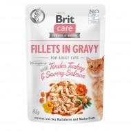 Влажный корм для кошек Brit Care Cat pouch 85g (филе индейки и лосося в соусе)