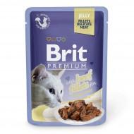 Влажный корм для кошек Brit Premium Cat Beef Fillets Jelly 85 г, с филе говядины в желе