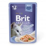 Влажный корм для кошек Brit Premium Cat Salmon Fillets Jelly 85 г, с филе лосося в желе