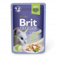 Влажный корм для кошек Brit Premium Cat Trout Fillets Jelly 85 г, с филе форели в желе