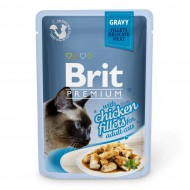 Влажный корм для кошек Brit Premium Cat Chicken Fillets Gravy pouch 85 г, с филе курицы в соусе