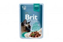 Влажный корм для кошек Brit Premium Cat Beef Fillets Gravy pouch 85 г, с филе говядины в соусе