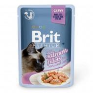 Влажный корм для кошек Brit Premium Cat Salmon Fillets Gravy pouch 85 г, с филе лосося в соусе