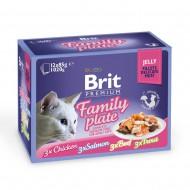 Влажный корм для кошек Brit Premium Cat Family Plate Jelly 12х85 г, ассорти из 4 вкусов «Семейная тарелка» в желе