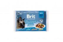 Влажный корм для кошек Brit Premium Cat Dinner Plate Fillets Jelly 4х85 г, ассорти из 4 вкусов «Обеденная тарелка» в соусе