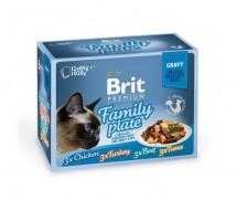 Влажный корм для кошек Brit Premium Cat Dinner Plate Fillets Jelly 12х85 г, ассорти из 4 вкусов «Семейная тарелка» в соусе