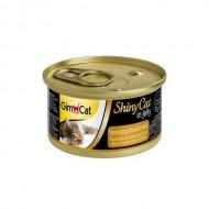 Влажный корм для кошек GimCat Shiny Cat in Jelly 70 г, с тунцом, креветками и солодом