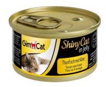 Влажный корм для кошек GimCat Shiny Cat in Jelly 70 г, с тунцом и сыром