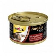 Влажный корм для кошек GimCat Shiny Cat in Jelly 70 г, с курицей, креветками и солодом