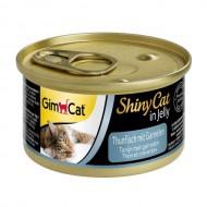 Влажный корм для кошек GimCat Shiny Cat in Jelly 70 г, с тунцом и креветками