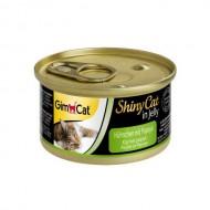 Влажный корм для кошек GimCat Shiny Cat in Jelly 70 г, с курицей и папайей