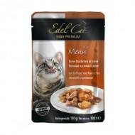 Влажный корм для кошек Edel Cat 100 г, с птицей и кроликом в соусе