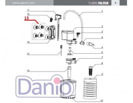 Схема запчастей внутренних фильтров Aquael серии Turbo Filter