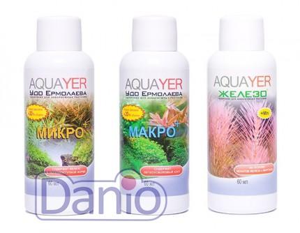 Набор удобрений Aquayer Микро + Макро+Железо 60мл, Set fertilize