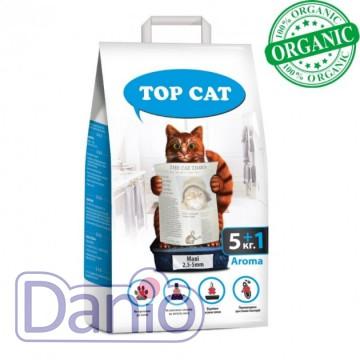 Top Cat (Украина) Наполнитель бентонитовый Top Cat maxi 5+1 килограмма для кошек, (2,5 - 5,5 мм) с лавандой - Картинка 1