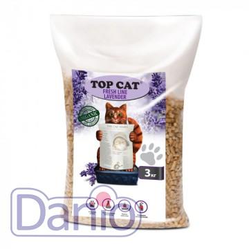 Top Cat (Украина) Наполнитель древесный Top Cat FreshLine Lavander 3 килограмма для кошек с лавандой - Картинка 1