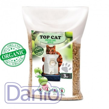Top Cat (Украина) Наполнитель древесный Top Cat FreshLine Apple 3 килограмма для кошек с яблоком - Картинка 1