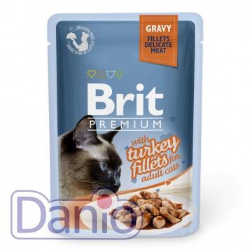 Brit (Чехия) Влажный корм для кошек Brit Premium Cat Turkey Fillets Gravy pouch 85 г, с филе индейки в соусе - Картинка 1